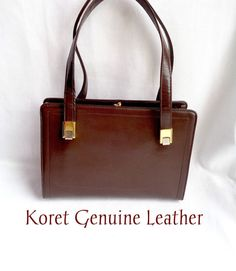 Vintage KORET Genuine Leather Chocolate Brown Handbag at ThatchandSloane on Etsy.com.