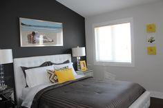 grey, yellow & white--contemporary bedroom