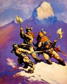 Love this. Notice that the lighting clearly marks the events as taking place during late afternoon. (Frank Frazetta, FrankFrazetta.org)