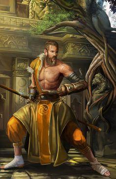 m Temple Monk hilvl mountain (commission) by Devtexture Please check this link, see how you can drag in big commissions Fantasy Male, Fantasy Warrior, Fantasy Rpg, Dungeons And Dragons Characters, D D Characters, Fantasy Characters, Pathfinder Monk, Pathfinder Character, Character Portraits