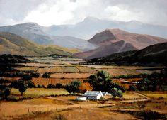 Winelands by Rika De Klerk Oil ~ 102 cm. x 75 cm. Landscape Drawings, Cool Landscapes, Landscape Art, Landscape Paintings, Floral Paintings, Watercolor Artists, Watercolor Landscape, African Paintings, South African Artists
