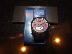 New Men's Chronograph Watch Oversized Black Red Dial Analog & Digital