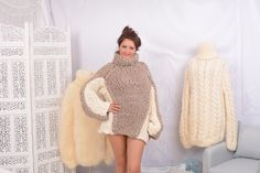 Beige and Cream Merino Wool Turtleneck Sweater - Gorgeous Fall Winter Sweater , Women Wool Sweater, chunky sweater by TheTiffyMohair on Etsy Thick Sweaters, Cool Sweaters, Winter Sweaters, Fluffy Socks, Fluffy Sweater, Gros Pull Mohair, Thing 1, Beige, Models