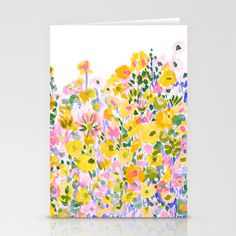 Flower Fields Sunshine Stationery Cards + free shipping worldwide today