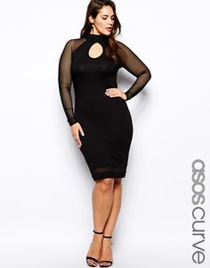 Black Dress with Mesh Sleeves