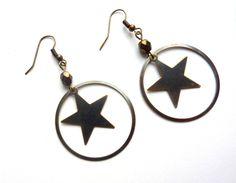 boucles d'oreilles graphiques en laiton bronze : Boucles d'oreille par l-atelier-des-p-tites-fantaisies