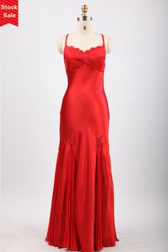 Open Back Column Spaghetti Straps Red Satin Prom Evening Dress JSLD0182