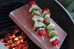 Kebabs on a salt block