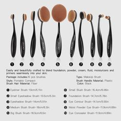 Docolor 10Pcs Oval Makeup Brushes Set|Face Foundation Kits with Cleaner