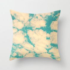 Pillow Cover Sky Pillow Turquoise Pillow Vintage Pillow Summer Pillow Spring Pillow Clouds Pillow 16 x 16 or  18 x 18. $37.00, via Etsy.