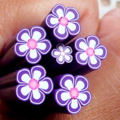 Purple Flower Polymer Clay Cane Fimo Cane (LARGE / BIG) Nail Art Nail Deco Scrapbooking BC46. $3.50, via Etsy.