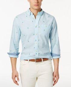 Tommy Hilfiger Men's Coastal Critter Custom-Fit Long-Sleeve Shirt  - Blue XXL