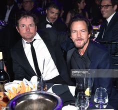 Michael J. Fox and Eddie Vedder attend 32nd Annual Rock & Roll Hall Of Fame Induction Ceremony at Barclays Center on April 7, 2017 in New York City. The broadcast will air on Saturday, April 29, 2017 at 8:00 PM ET/PT on HBO.