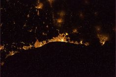 2013 02 23   The UK south coast crystal clear at night, centered on Brighton.