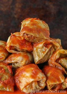 These easy old-fashioned cabbage rolls are so tasty and ultra comforting! Cabbage leaves are stuffed with a seasoned ground beef mixture, topped with tomato sauce and baked. So hearty and delicious! Cabbage Roll Sauce, Best Cabbage Rolls Recipe, Crockpot Cabbage Recipes, Slow Cooker Cabbage Rolls, Easy Cabbage Rolls, Beef Recipes, Cooking Recipes, Easy Stuffed Cabbage, Easy Pasta Sauce