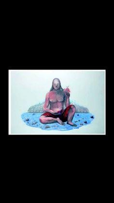 """Martial Raysse - """"Pythagore dominant de sa stature immense la bonne ville de Nice"""", 1983/84 - Huile et collage sur toile - 200 x 300 cm (*)"""