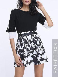 #BFCM #CyberMonday #Fashionmia - #Fashionmia Assorted Colors Printed Falbala Round Neck Skater Dress - AdoreWe.com