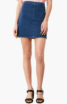 Topshop Moto Dobby Denim Skirt available at #Nordstrom