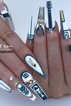 When you see the word cool, you might think of a blue sea, a white sky, or a watermelon on ice. So how do we cool our nails too? Come and see! Sexy Nails, Glam Nails, Dope Nails, Stiletto Nails, Coffin Nails, Fabulous Nails, Gorgeous Nails, Pretty Nails, Cute Acrylic Nail Designs