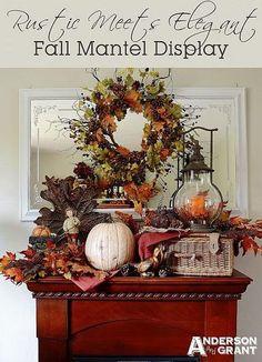 One of my favorite Fall mantles at anderson + grant: Rustic Meets Elegant Fall Mantel Display Autumn Display, Fall Displays, Autumn Decorating, Decorating Tips, Thanksgiving Decorations, Thanksgiving Ideas, Seasonal Decor, Holiday Ideas, Pumpkin Decorations