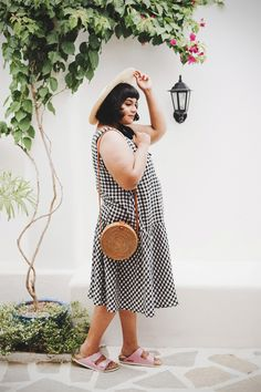 A Curious Fancy // gingham dress, rattan ata bag, straw hat