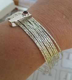 Stackable Silver Bracelet ,Sterling Silver Bangle ,Stacking Bracelet ,Sterling Silver 925 Gemstones Bracelet ,Garnet Silver Unique Bracelet by TalyaDesign on Etsy