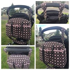 Sewing pattern; Smart, spacious and stroller savvy, all rolled into one stylish baby diaper bag. Includes handles, adjustable strap and stroller clips!