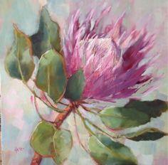 King Protea by Karen Burns Protea Art, Protea Flower, Easy Flower Painting, Flower Art, Watercolor Flowers, Watercolor Paintings, King Art, Arte Floral, Acrylic Art