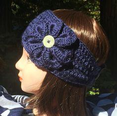 Teen/Women's Navy Blue Crochet Headband/Ear by ThatsKnotLove
