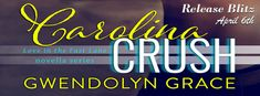 Hot New Release By Author Gwendolyn Grace!   NEW RELEASE     Title: Carolina Crush (Drive Me Wild #3)  Author: Gwendolyn Grace  Genre: Contemporary/Erotic Romance   BUY LINKS   Amazon | iBooks | B&N | Kobo   BLURB     Tayia has a secret a big secret. She is madly in love with Blake the only man capable of possessing her heart. They were meant for each other Tayia knew it down to her bones. But when Blakes mother and her father announced they were to be married it crushed her dreams. The…