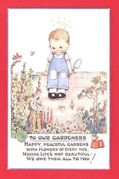 to our gardeners Unused Vintage Mabel Lucie Attwell artist signed postcard in very good condition No.1311 published by valentines