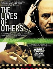 The Lives of Others (2006). Starring Ulrich Mühe, Martina Gedeck, and Sebastian Koch. German. [R]