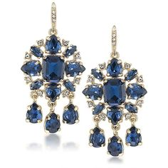 Carolee  Note Teardrop Chandelier Earrings (99 CAD) ❤ liked on Polyvore featuring jewelry, earrings, blue, blue earrings, fancy jewelry, blue stone jewelry, teardrop stone earrings and tear drop earrings