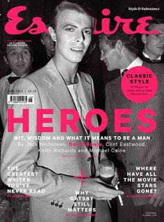 Esquire (UK) Great series of 'hero' covers! The covers include shots of Jack Nicholson, David Bowie, Clint Eastwood, Keith Richards and Michael Caine. David Bowie Covers, Esquire Uk, The Thin White Duke, Major Tom, Cinema, Jack Nicholson, Keith Richards, Clint Eastwood, David Jones