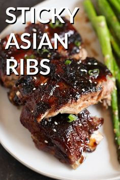 Sticky Asian Ribs (in the OVEN!) Salty but sweet and covered in a delicious sticky sauce - our Sticky Asian Ribs will be your new BBQ staple. - Sticky Asian Ribs (in the OVEN! Pork Rib Recipes, Meat Recipes, Asian Recipes, Cooking Recipes, Easy Chinese Recipes, Budget Recipes, Smoker Recipes, Cooking Tips, Asian Ribs