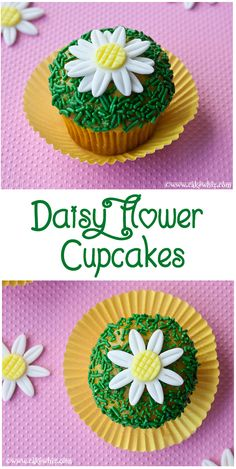 Cute DAISY CUPCAKES that are perfect for Spring/Summer. You will learn to make 2 types of easy daisies in this tutorial. From cakewhiz.com