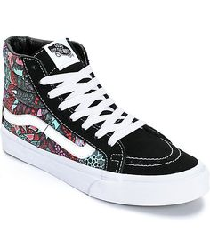 This classic high top shoe offers a timeless silhouette and features a mixed suede and textile upper adorned with a colorful printed design inspired by Mexican folk art.