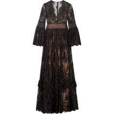 Zuhair Murad Tiered silk-blend lace gown