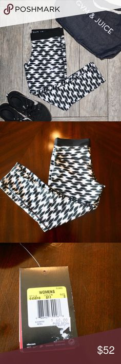NWT Nike Geometric Print Crop Leggings These black and white geometric patterned capri yogas are brand new! They are perfect for working out or just to wear whenever! Made from 92% polyester and 8% spandex. Nike Pants Leggings