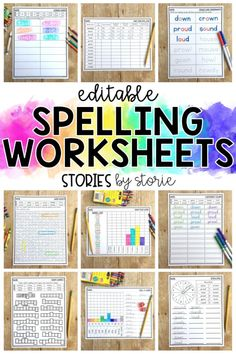 Are you falling into a spelling rut? These low-prep editable spelling worksheets help students practice their words in a fun and engaging way! Spelling Word Activities, Spelling Word Practice, Spelling Worksheets, Spelling Lists, 3rd Grade Spelling Words, Spelling Centers, Calendar Worksheets, Spelling Homework, Writing