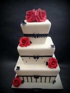 Red & Black Chic Wedding Cake