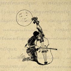 Monkey Serenading the Moon Printable Image Download Music Violin Digital Graphic Vintage Clip Art. Digital image graphic from antique artwork for printing, transfers, tote bags, tea towels, pillows, and other great uses. Great for use on etsy items. This image is large and high quality, size 8½ x 11 inches. A Transparent background png version is included.