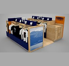 Quiosques para Shopping_Nice_Crema Kiosk Store, Mall Kiosk, Mobile Fashion Truck, Boutique Names, Storing Clothes, Market Stands, Skate Store, Clothing Displays, Show Booth
