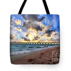 "#Juno #Beach #Pier #Florida #Sunrise #Seascape D7 #Photography by #Ricardos #CreationsThrow Pillow 14"" x 14""  Tote Bag by Ricardos Creations (18"" x 18"").  The tote bag is machine washable, available in three different sizes, and includes a black strap for easy carrying on your shoulder.  All totes are available for worldwide shipping and include a money-back guarantee."