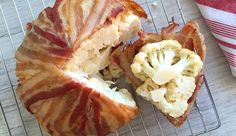 Bacon cauliflower as you've never seen it before: a whole head of cauliflower wrapped in bacon and then baked into soft, savory, sizzling submission. Thm Recipes, Dairy Free Recipes, Whole Food Recipes, Cooking Recipes, Healthy Recipes, Gluten Free, World's Best Food, Good Food, Carb Less Meals