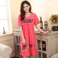 7fbb7ac95b Freesize nursing maternity pajamas breastfeeding dresses for pregnant women  soft cotton nightwear short sleeve pyjamas drop