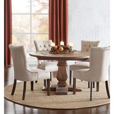 Home Decorators Collection Aldridge Antique Walnut Round Dining Table - - The Home Depot Grey Round Dining Table, Antique Dining Tables, Dining Room Table Decor, Round Kitchen Table Sets, Round Dining Room Sets, Kitchen Tables, Dining Table Chairs, Dining Furniture, Room Decor