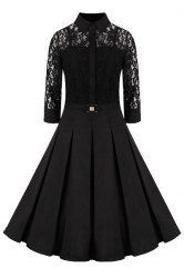 Women's Elegant Shirt Collar 3/4 Sleeves Solid Color Lace Dress (BLACK,4XL) | Sammydress.com Mobile