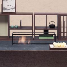 PYRA low table with fireplace detail