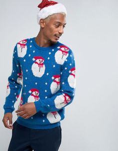 ASOS Holidays Sweater With Fluffy Snowman - Multi